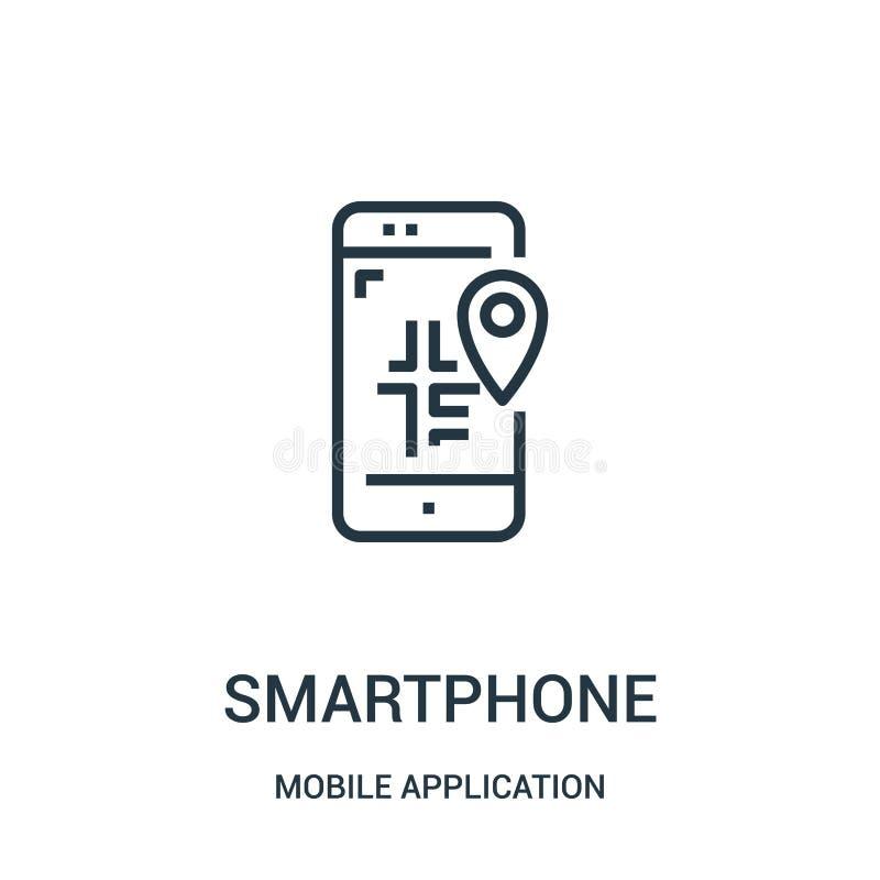 вектор значка смартфона от мобильного собрания применения Тонкая линия иллюстрация вектора значка плана смартфона Линейный символ бесплатная иллюстрация
