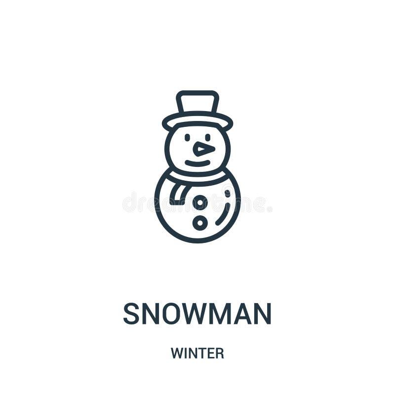 вектор значка снеговика от собрания зимы Тонкая линия иллюстрация вектора значка плана снеговика Линейный символ для пользы на се иллюстрация штока