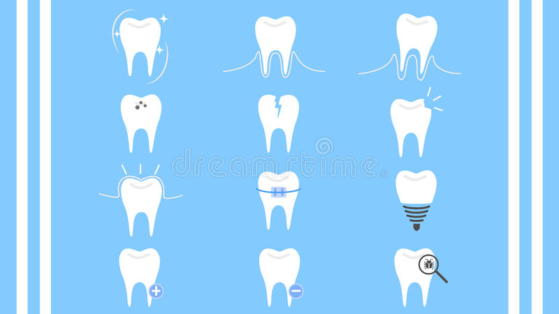 Вектор значка собрания зуба зубоврачебной заботы стоковые фотографии rf