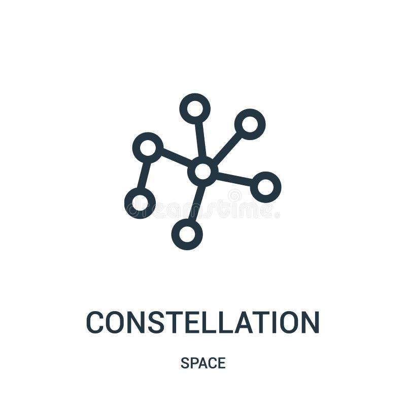 вектор значка созвездия от собрания космоса Тонкая линия иллюстрация вектора значка плана созвездия иллюстрация вектора