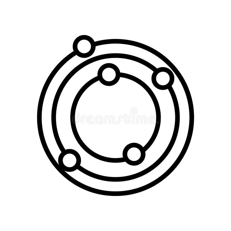 Вектор значка солнечной системы изолированный на белой предпосылке, знаке солнечной системы иллюстрация штока