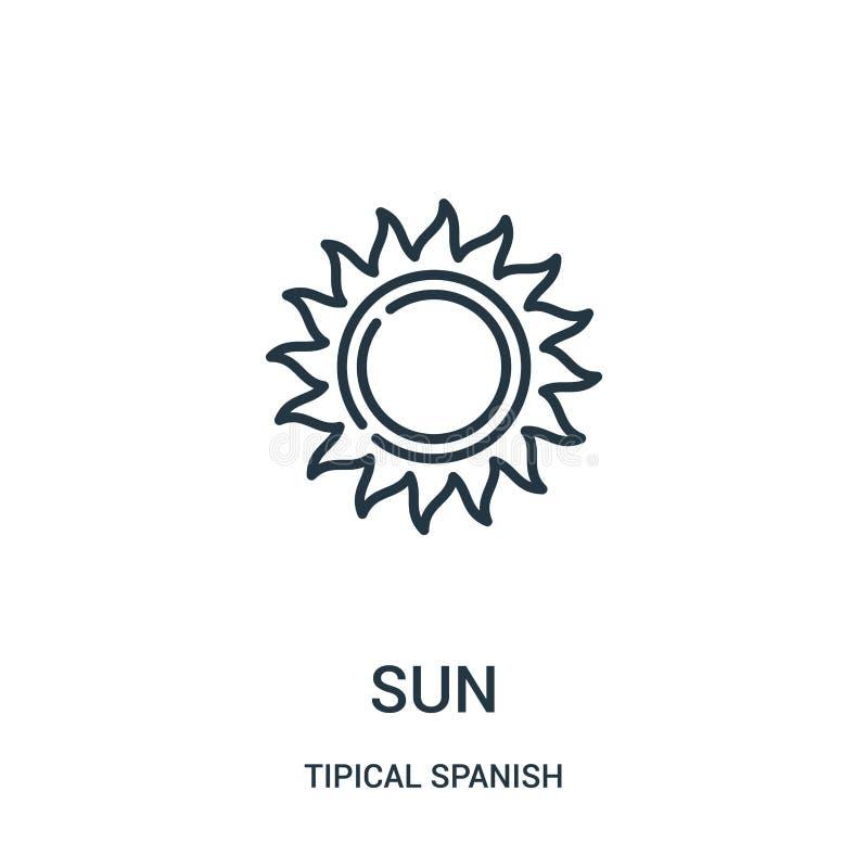 вектор значка солнца от tipical испанского собрания Тонкая линия иллюстрация вектора значка плана солнца Линейный символ для поль бесплатная иллюстрация