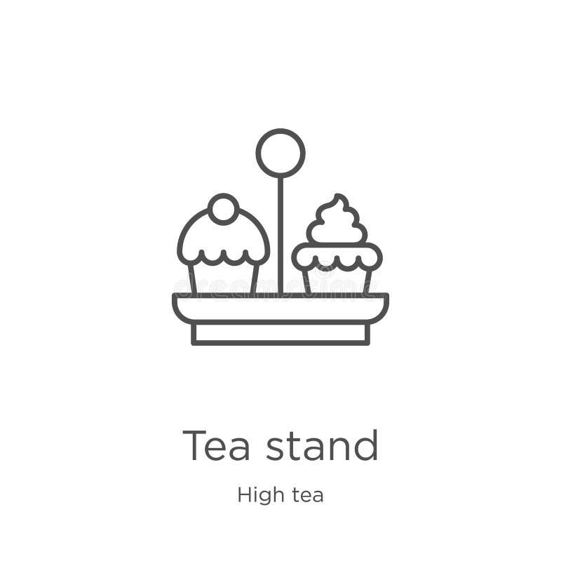 вектор значка стойки чая от собрания плотного ужина с чаем Тонкая линия иллюстрация вектора значка плана стойки чая План, тонкая  бесплатная иллюстрация