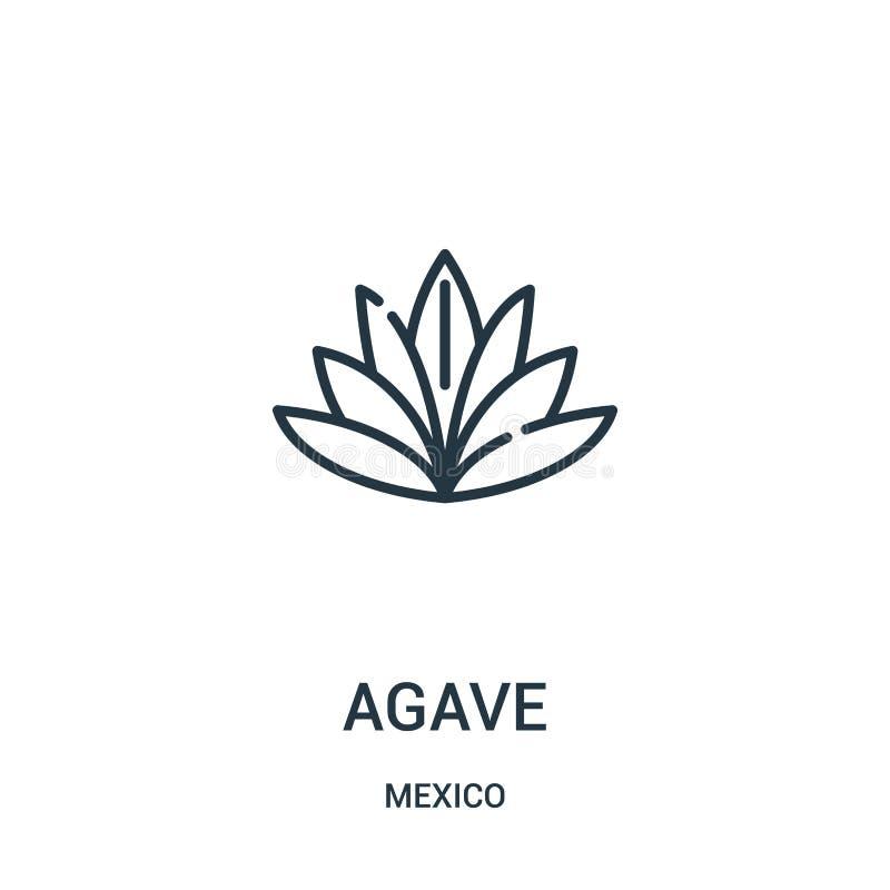 вектор значка столетника от собрания Мексики Тонкая линия иллюстрация вектора значка плана столетника бесплатная иллюстрация