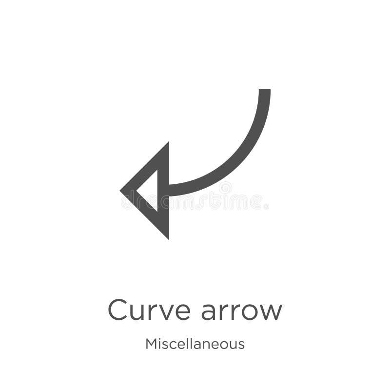 вектор значка стрелки кривой от разностороннего собрания Тонкая линия иллюстрация вектора значка плана стрелки кривой План, тонка иллюстрация вектора