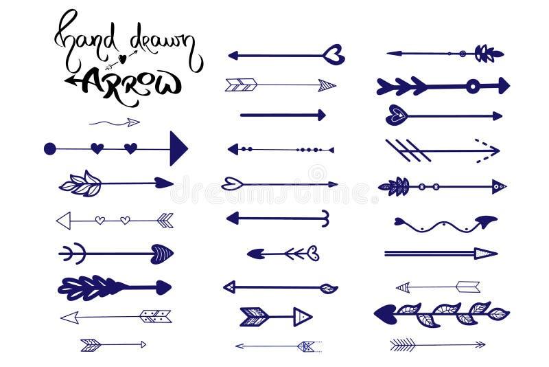 Вектор значка стрелок голубой руки вычерченный на белой предпосылке Иллюстрация стрелки установленная Стиль наконечника винтажный бесплатная иллюстрация