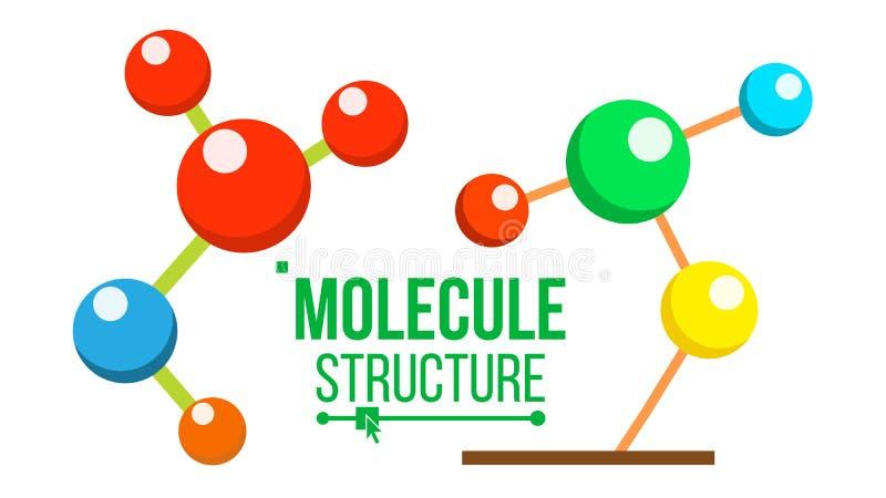 Вектор значка структуры молекулы Символ дна Медицина, наука, химия, новаторская биотехнология Изолированный шарж бесплатная иллюстрация