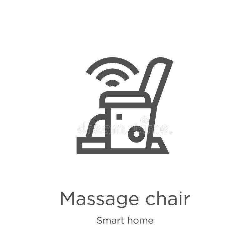 вектор значка стула массажа от умного домашнего собрания Тонкая линия иллюстрация вектора значка плана стула массажа План, тонкая иллюстрация вектора