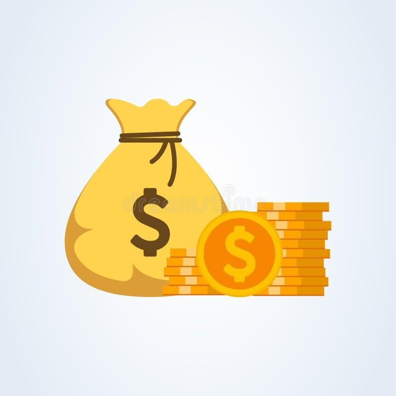 Вектор значка сумки денег, иллюстрация мультфильма moneybag плоская простая бесплатная иллюстрация