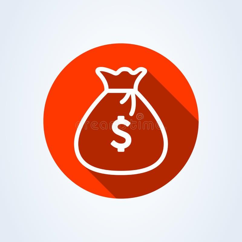 Вектор значка сумки денег, линия иллюстрация мультфильма moneybag искусства плоская простая иллюстрация штока