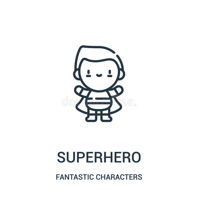 вектор значка супергероя от фантастического собрания характеров Тонкая линия иллюстрация вектора значка плана супергероя иллюстрация вектора