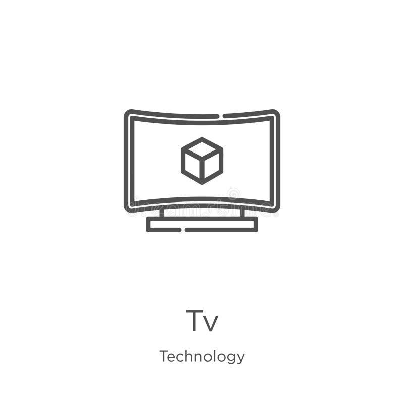 вектор значка ТВ от собрания технологии Тонкая линия иллюстрация вектора значка плана ТВ План, тонкая линия значок ТВ для вебсайт иллюстрация вектора