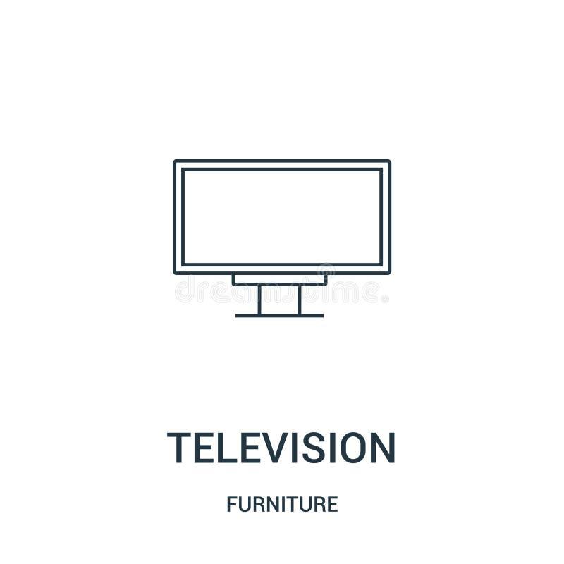 вектор значка телевидения от собрания мебели Тонкая линия иллюстрация вектора значка плана телевидения Линейный символ для пользы бесплатная иллюстрация