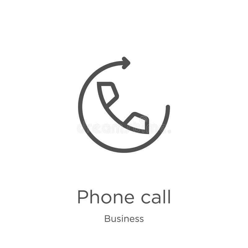 вектор значка телефонного звонка от собрания дела Тонкая линия иллюстрация вектора значка плана телефонного звонка План, тонкая л иллюстрация штока