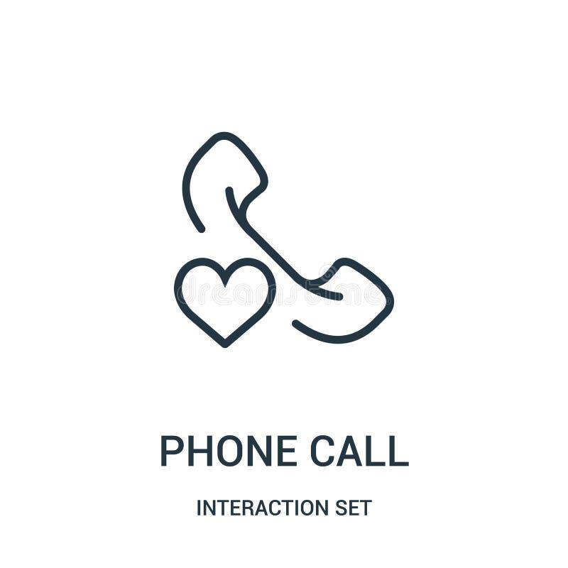 вектор значка телефонного звонка от собрания набора взаимодействия Тонкая линия иллюстрация вектора значка плана телефонного звон иллюстрация штока