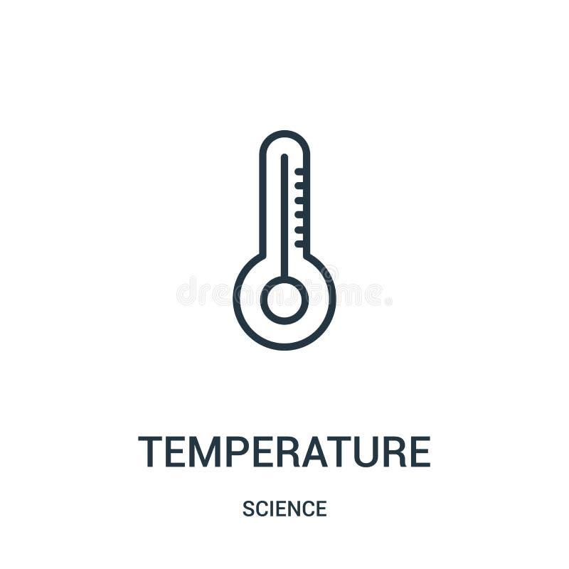 вектор значка температуры от собрания науки Тонкая линия иллюстрация вектора значка плана температуры r бесплатная иллюстрация