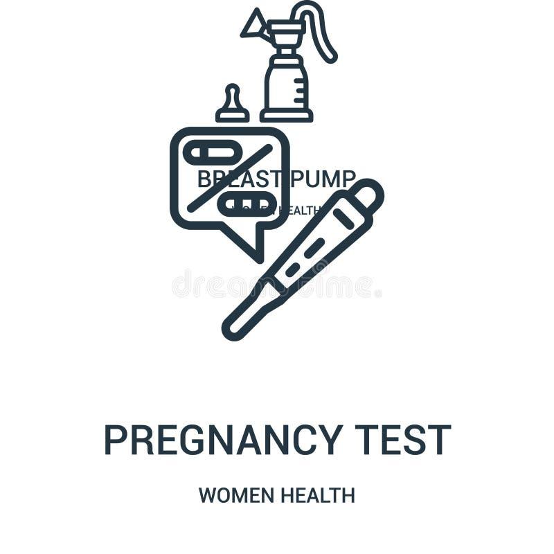 вектор значка теста на беременность от собрания здоровья женщин Тонкая линия иллюстрация вектора значка плана теста на беременнос иллюстрация штока