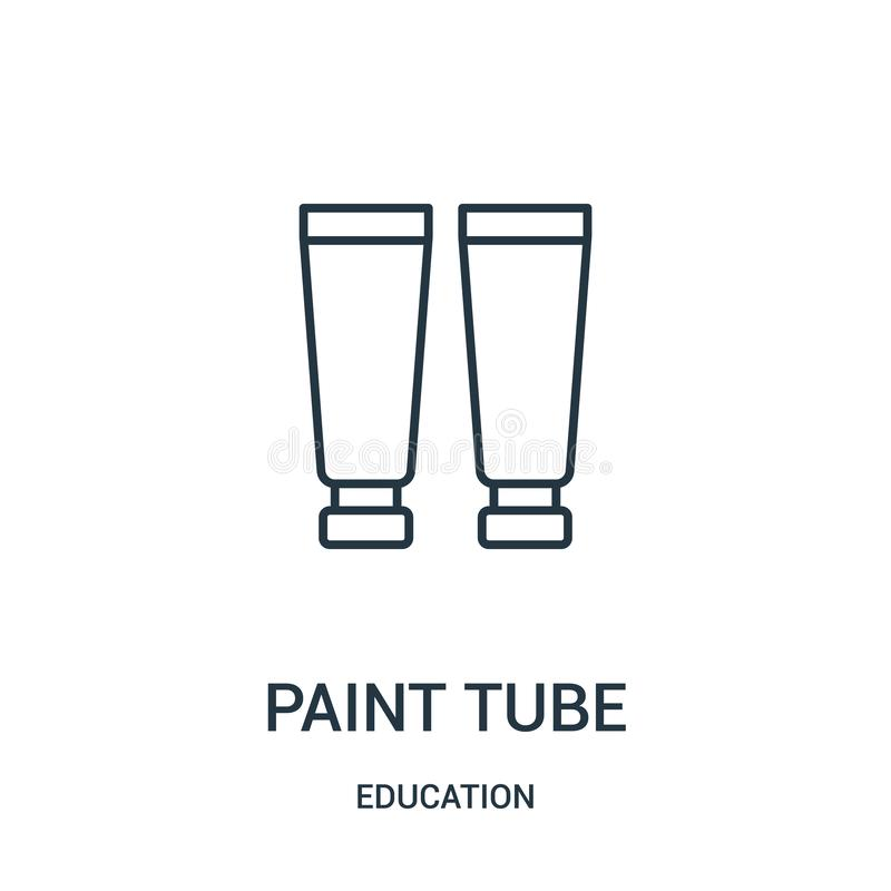 вектор значка трубки краски от собрания образования Тонкая линия иллюстрация вектора значка плана трубки краски бесплатная иллюстрация