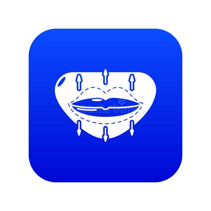 Вектор значка увеличения губы голубой бесплатная иллюстрация