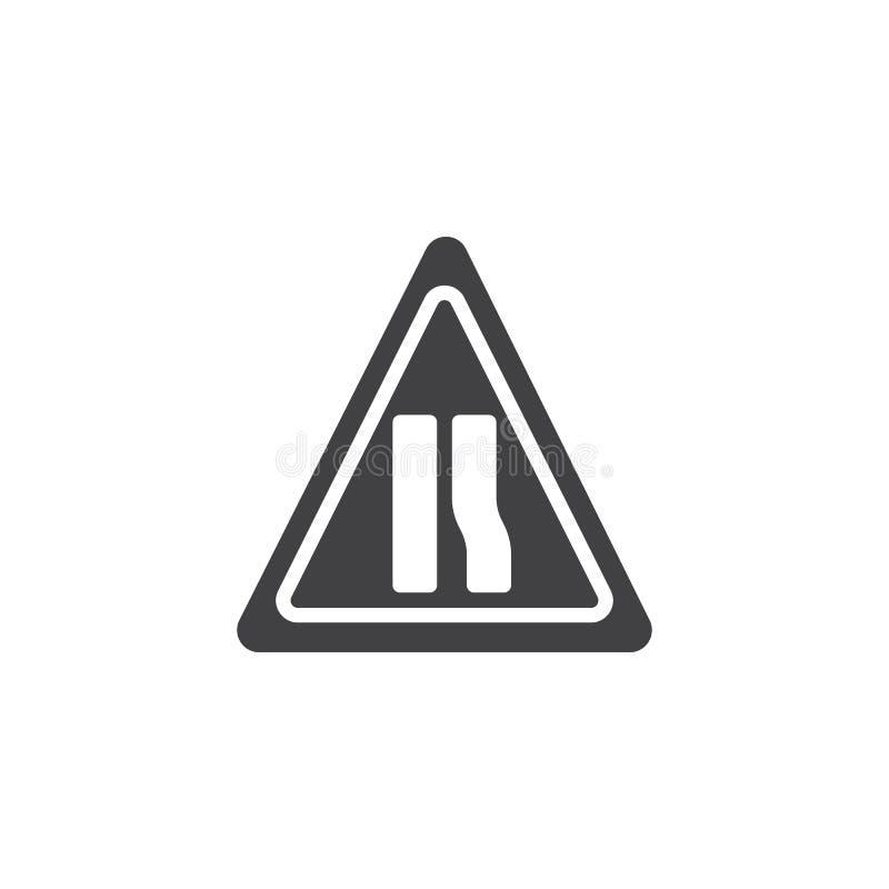 Вектор значка узкой дороги предупредительного знака бесплатная иллюстрация