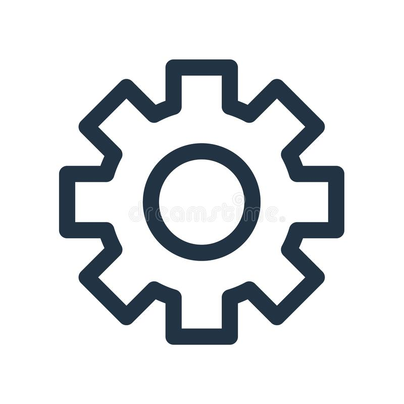 Вектор значка установок изолированный на белой предпосылке, установках подписывает бесплатная иллюстрация