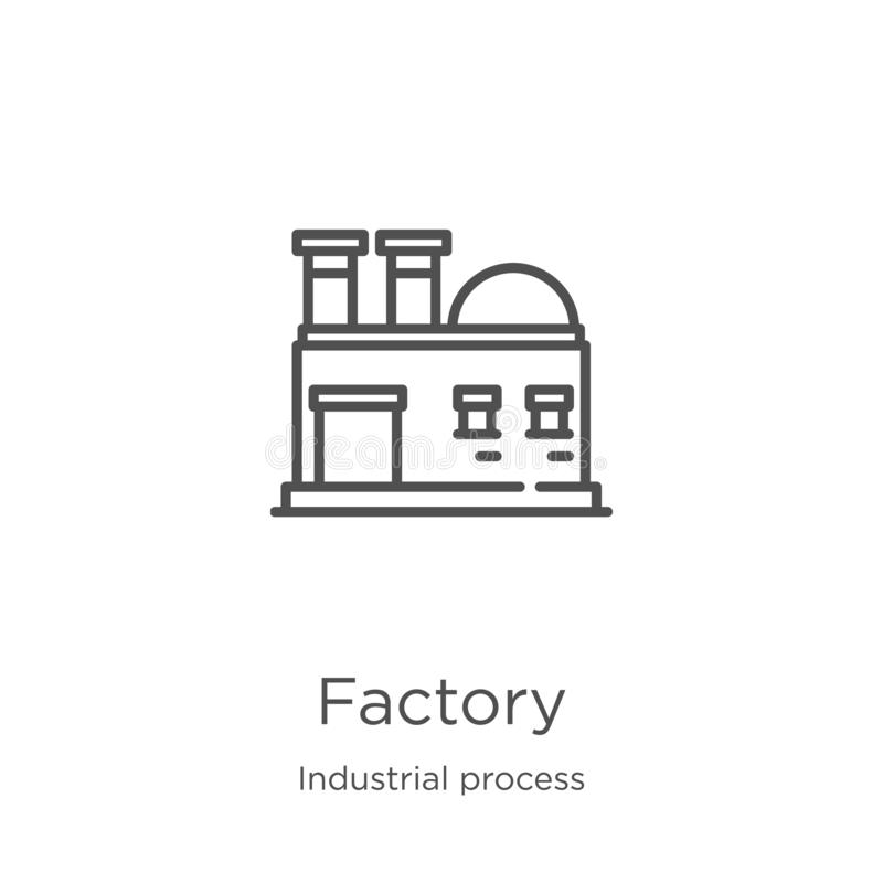 вектор значка фабрики от собрания производственного процесса Тонкая линия иллюстрация вектора значка плана фабрики План, тонкая л бесплатная иллюстрация
