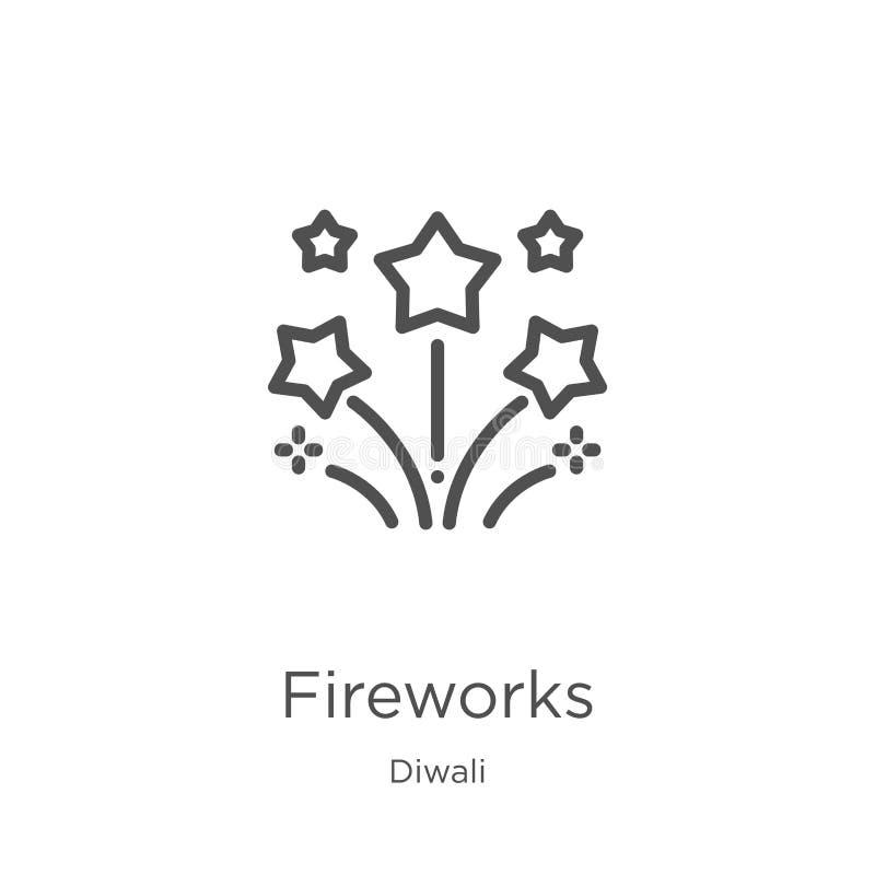 вектор значка фейерверков от собрания diwali Тонкая линия иллюстрация вектора значка плана фейерверков План, тонкая линия фейерве бесплатная иллюстрация