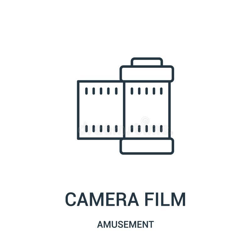 вектор значка фильма камеры от собрания занятности Тонкая линия иллюстрация вектора значка плана фильма камеры иллюстрация штока