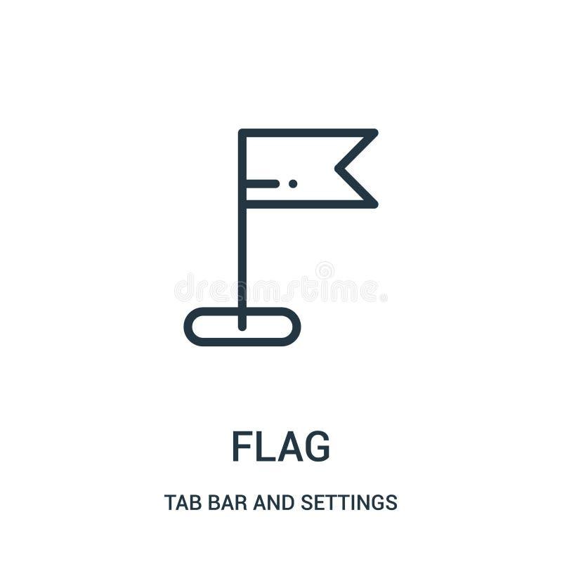 вектор значка флага от бара платы и собрания установок Тонкая линия иллюстрация вектора значка плана флага иллюстрация вектора