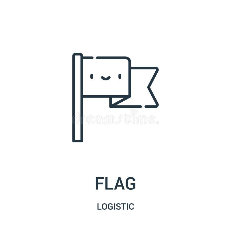 вектор значка флага от логистического собрания Тонкая линия иллюстрация вектора значка плана флага иллюстрация штока