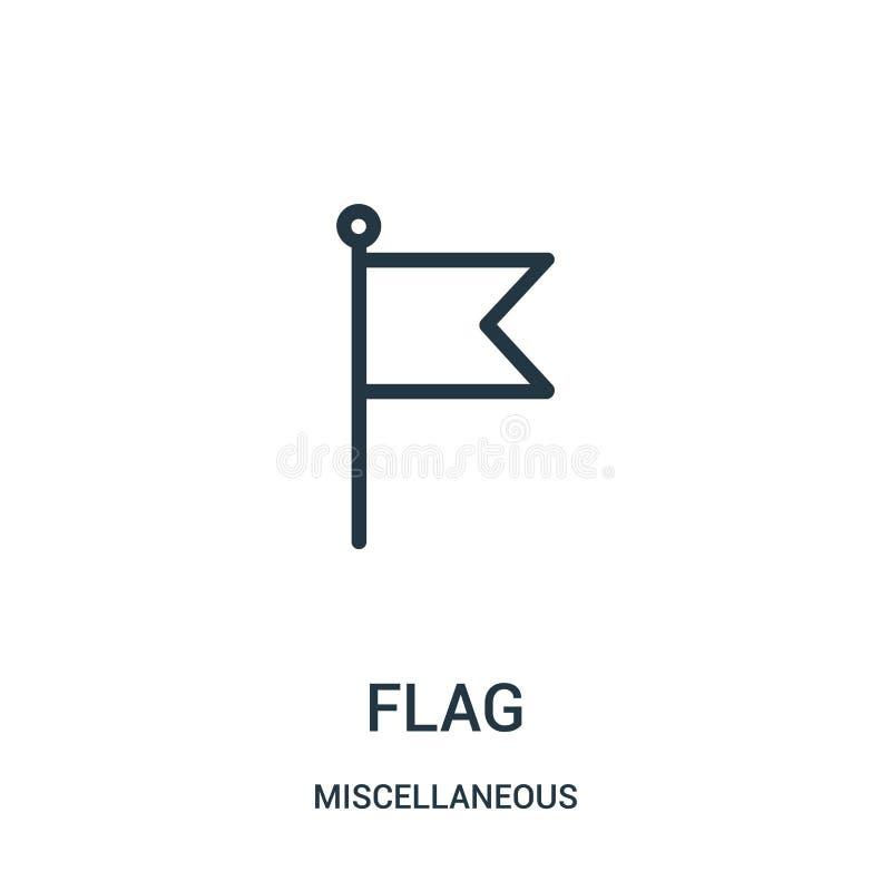 вектор значка флага от разностороннего собрания Тонкая линия иллюстрация вектора значка плана флага Линейный символ для пользы на бесплатная иллюстрация