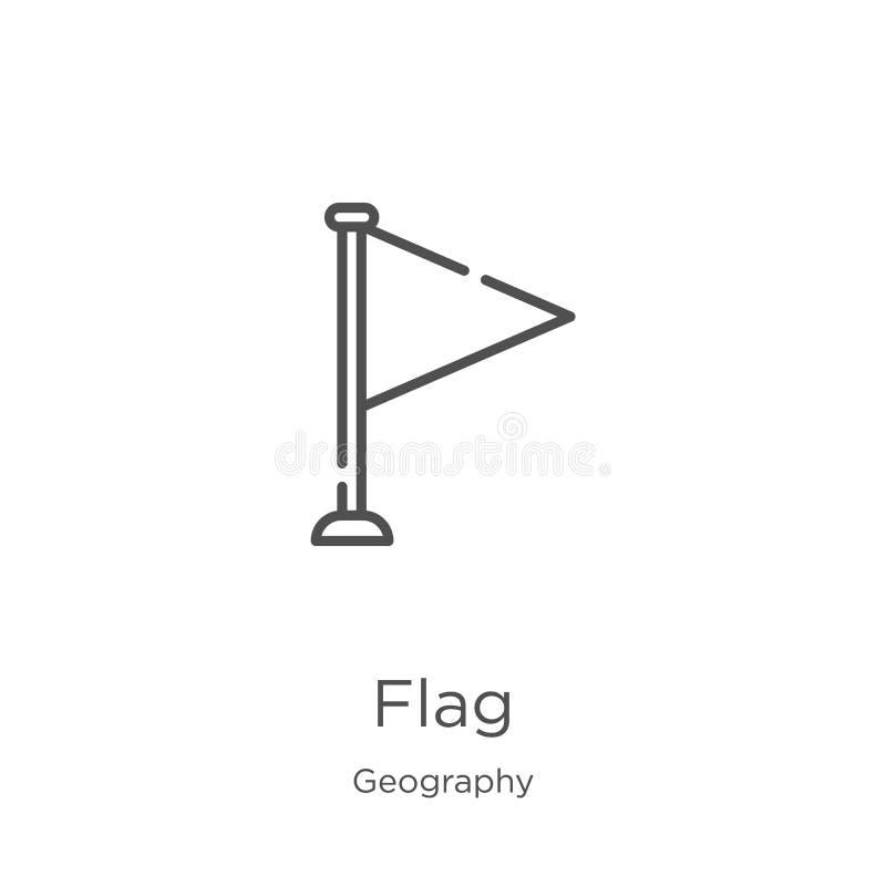 вектор значка флага от собрания землеведения Тонкая линия иллюстрация вектора значка плана флага План, тонкая линия значок флага  иллюстрация штока