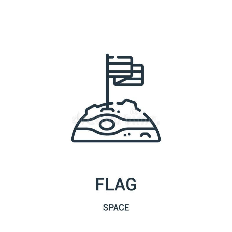 вектор значка флага от собрания космоса Тонкая линия иллюстрация вектора значка плана флага бесплатная иллюстрация