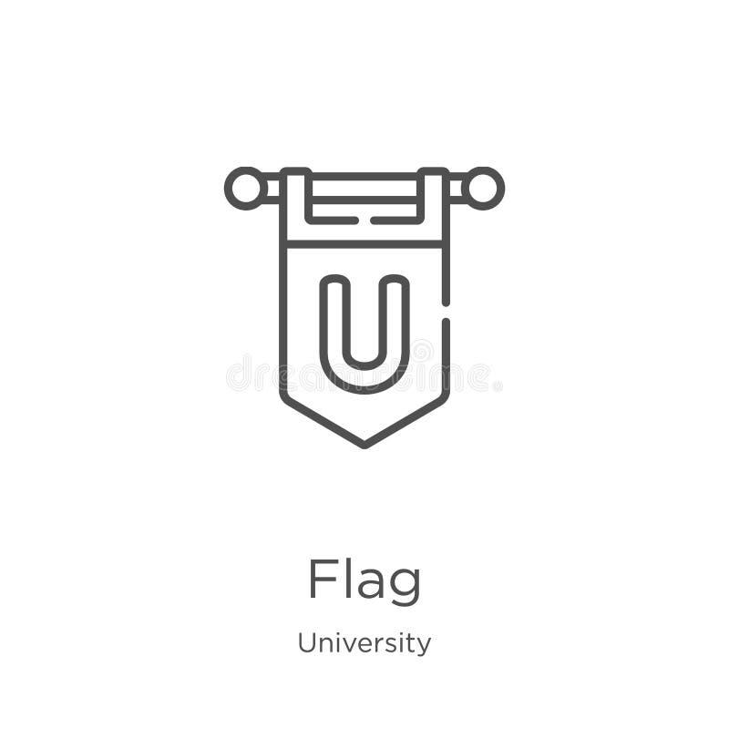 вектор значка флага от собрания университета Тонкая линия иллюстрация вектора значка плана флага План, тонкая линия значок флага  бесплатная иллюстрация