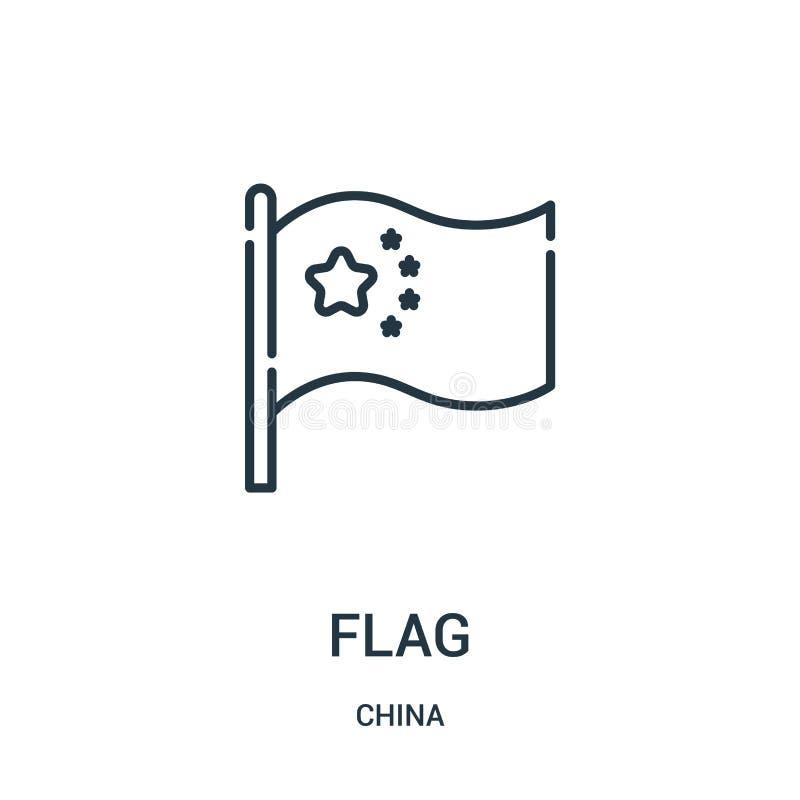 вектор значка флага от собрания фарфора Тонкая линия иллюстрация вектора значка плана флага Линейный символ для пользы на сети и  иллюстрация штока