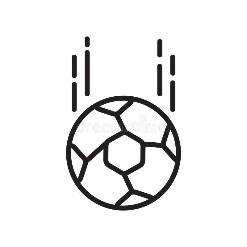 Вектор значка футбольного мяча изолированный на белых предпосылке, знаке футбольного мяча, знаке и символах в тонком линейном сти иллюстрация штока