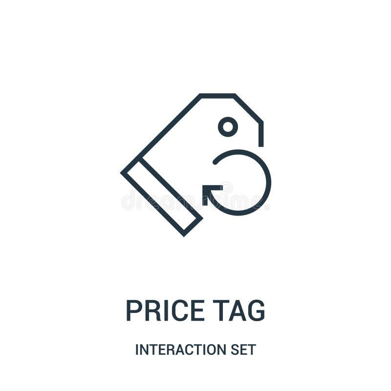 вектор значка ценника от собрания набора взаимодействия Тонкая линия иллюстрация вектора значка плана ценника иллюстрация штока