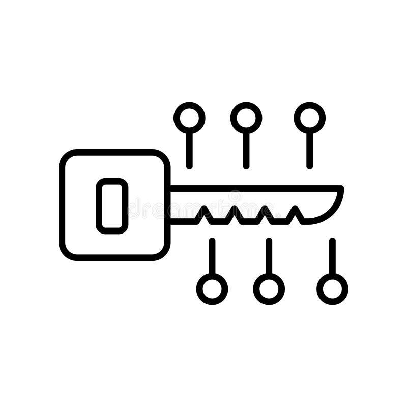 Вектор значка цифров ключевой изолированный на белой предпосылке, знаке цифров ключевом, тонкой линии элементах дизайна в стиле п бесплатная иллюстрация