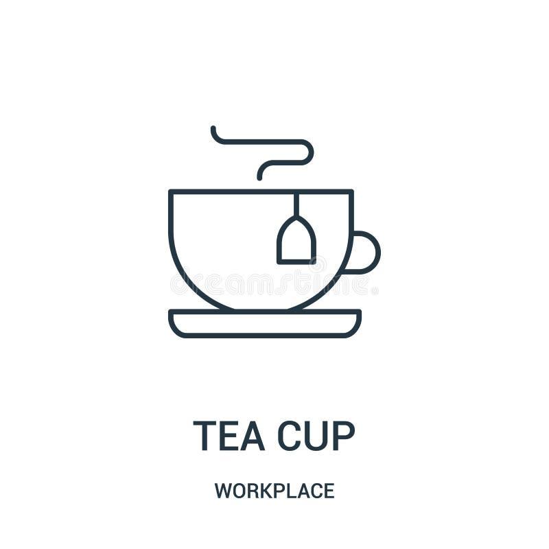 вектор значка чашки чая от собрания рабочего места Тонкая линия иллюстрация вектора значка плана чашки чая бесплатная иллюстрация