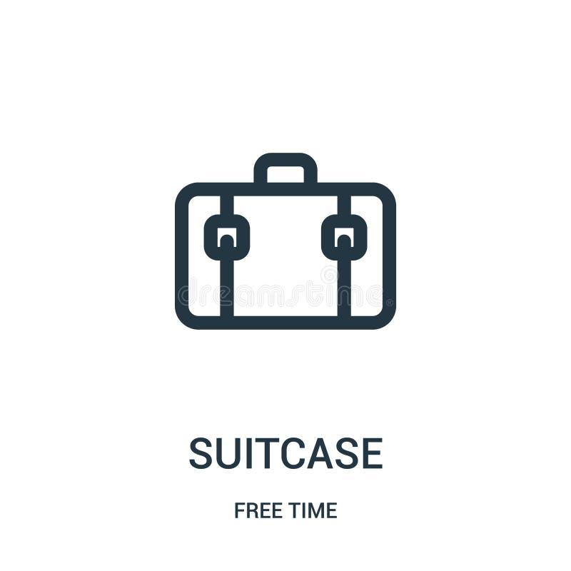 вектор значка чемодана от собрания свободного времени Тонкая линия иллюстрация вектора значка плана чемодана Линейный символ для  бесплатная иллюстрация