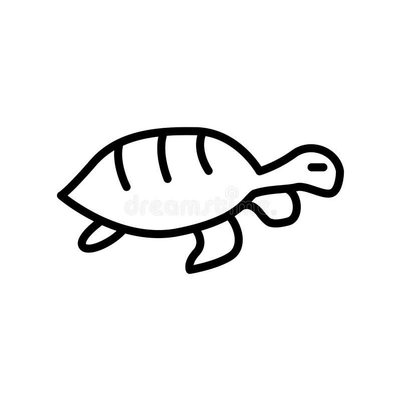 Вектор значка черепахи изолированный на белой предпосылке, знаке черепахи иллюстрация вектора