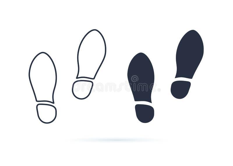 Вектор значка шагов ботинок Пары ботинок на белой предпосылке Новые тапки или символ концепции ботинок Взгляд сверху бесплатная иллюстрация
