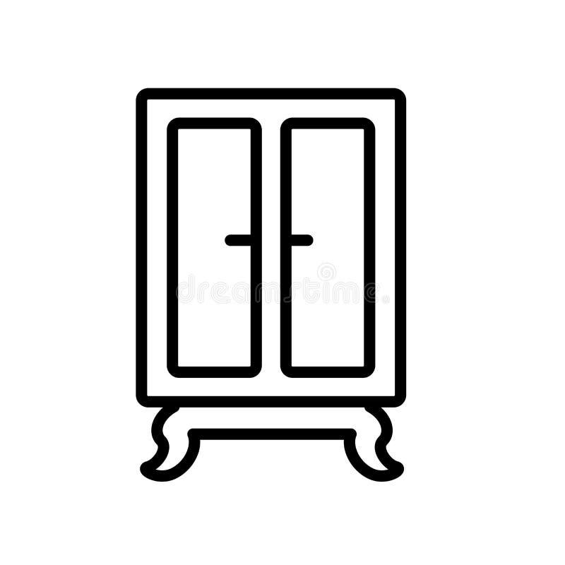 Вектор значка шкафа изолированный на белой предпосылке, знаке шкафа иллюстрация вектора