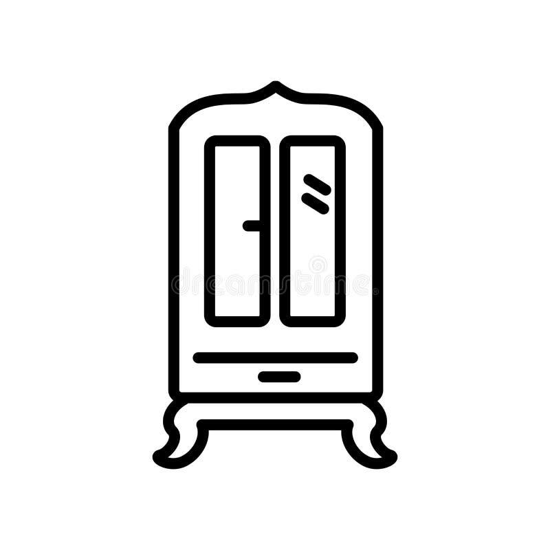 Вектор значка шкафа изолированный на белой предпосылке, знаке шкафа бесплатная иллюстрация