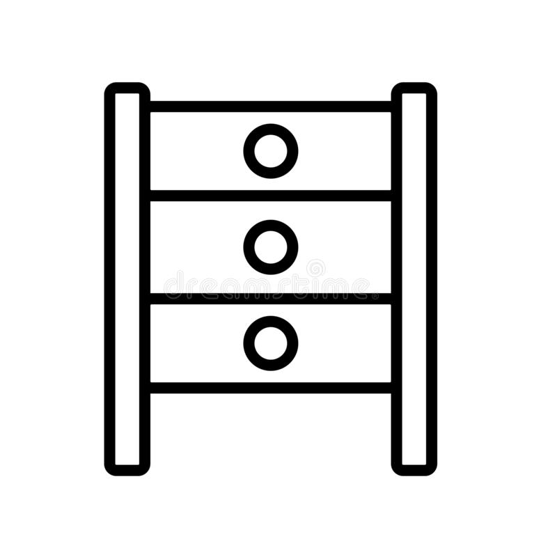 Вектор значка шкафа изолированный на белой предпосылке, кладет знак на полку, linea иллюстрация вектора