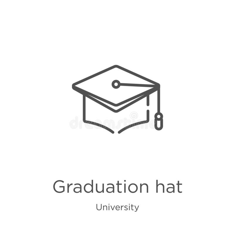 вектор значка шляпы градации от собрания университета Тонкая линия иллюстрация вектора значка плана шляпы градации План, тонко бесплатная иллюстрация