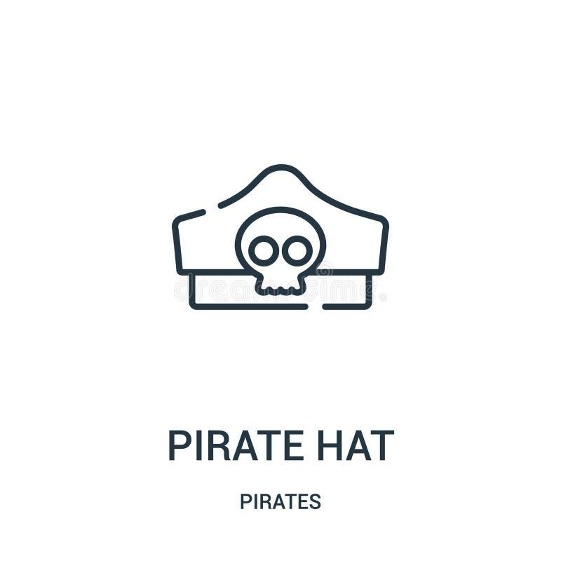 вектор значка шляпы пирата от собрания пиратов Тонкая линия иллюстрация вектора значка плана шляпы пирата Линейный символ для пол иллюстрация штока