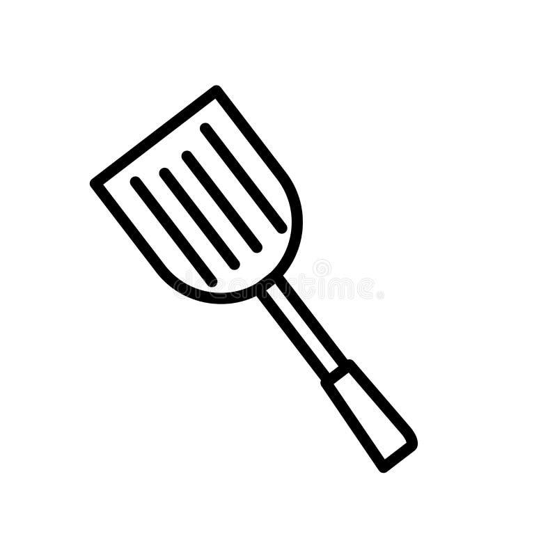 Вектор значка шпателя изолированный на белой предпосылке, знаке шпателя, линии или линейном знаке, дизайне элемента в стиле плана стоковые изображения rf
