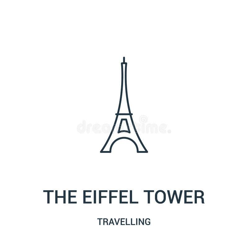 вектор значка Эйфелевой башни от путешествовать собрание Тонкая линия иллюстрация вектора значка плана Эйфелевой башни r бесплатная иллюстрация
