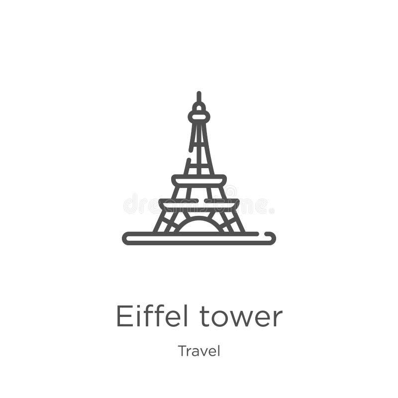 вектор значка Эйфелевой башни от собрания перемещения Тонкая линия иллюстрация вектора значка плана Эйфелевой башни План, тонкая  иллюстрация вектора